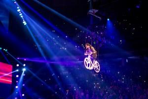 winch flying bike stunt