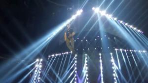 Tom Comet flying stunt rehearsal