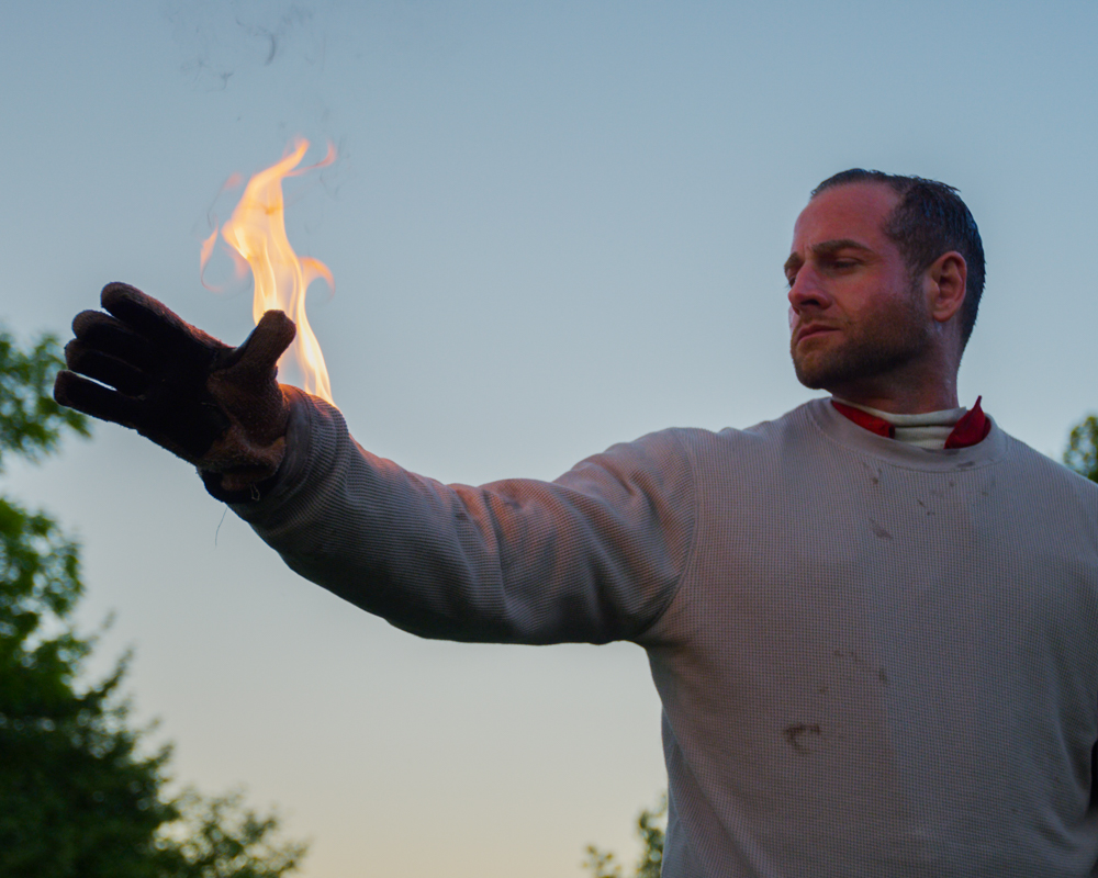 learning the body burn stunt. burn stunt, nome fire retardant gear, flame stunt