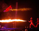 Liquid Flame Thrower Trampoline Stunt - The EX - Toronto