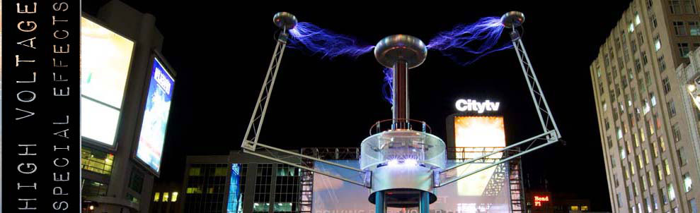 We work with high voltage effects as actually and own the largest non-scientific Tesla Coil in Canada. We have used this unit to create awesome high voltage electrical discharges (streamers) over ten feet long. Where would someone use such a device? Well, we have used it on stunt based TV shows, science shows and as for live displays. We offer our Tesla coil as a stand alone device or as part of a high voltage stunt show.